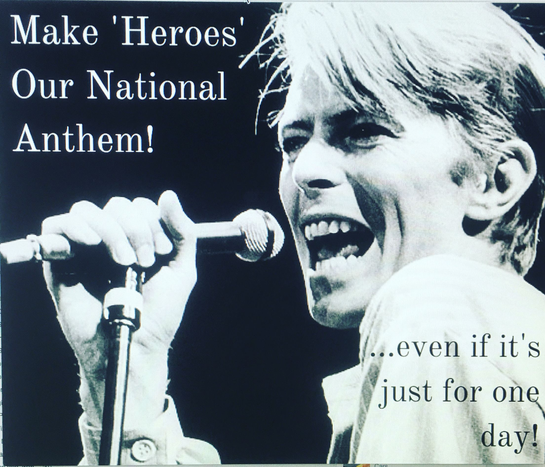 https://t.co/6gxzBZbhX0 Sign this petition to make 'Heroes' our national anthem ... Even just for one day.