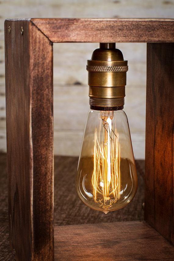 lampe edison shadow box lampe de table lampe de bureau. Black Bedroom Furniture Sets. Home Design Ideas