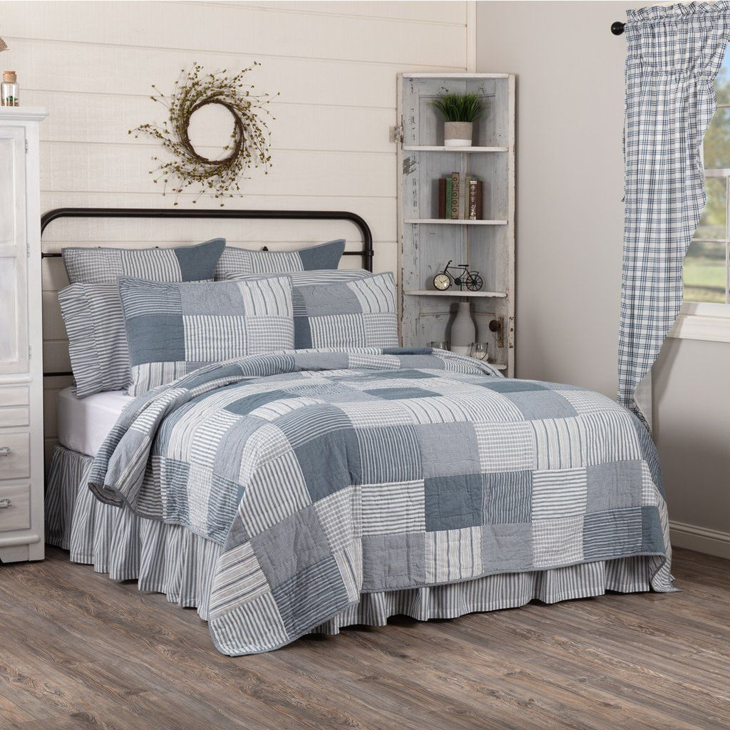 Farmhouse Bedding Sawyer Mill Blue Blocked Quilts Matching