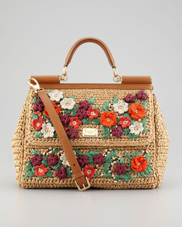 dolce gabbana miss sicily floral crocheted straw satchel
