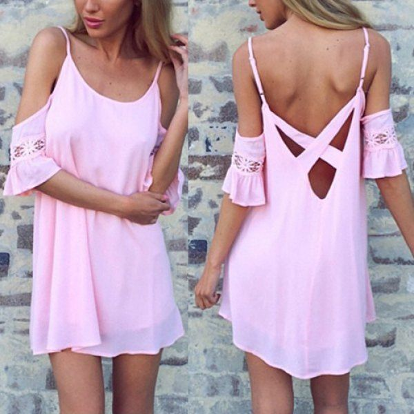 love this sleeves on this pink dress