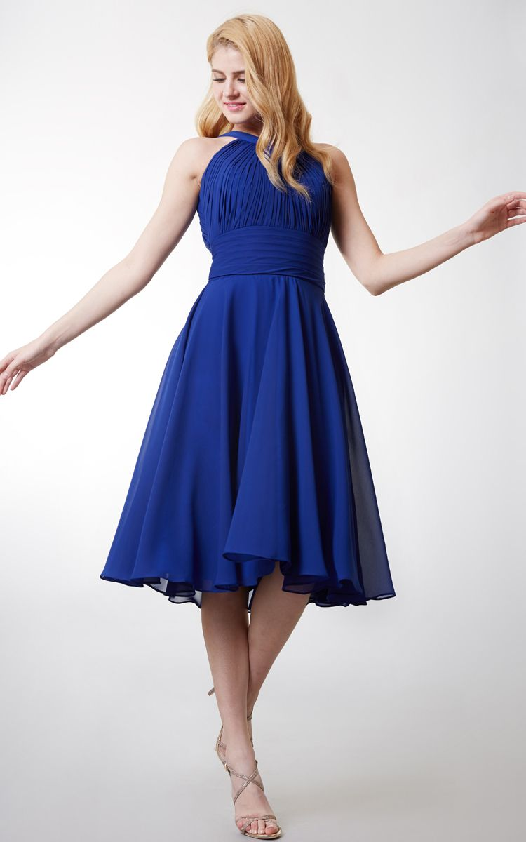 Aline high neck tea length bridesmaid dress with keyhole back