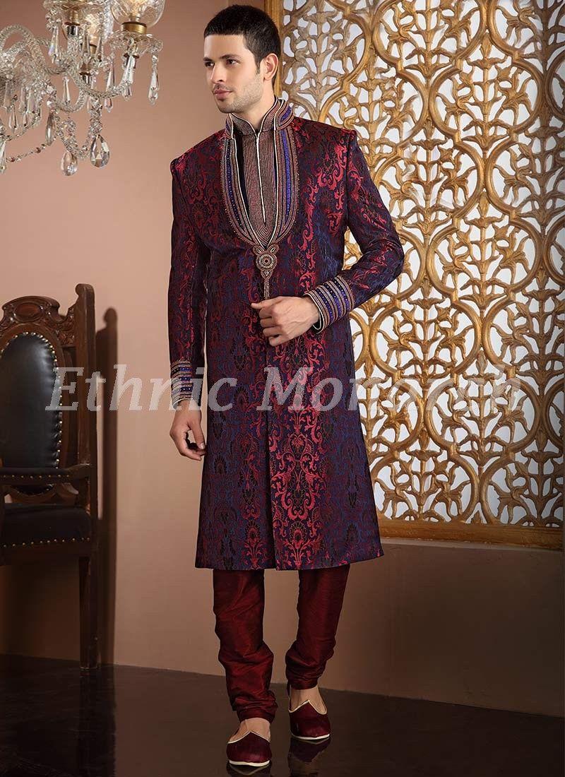 Spectacular velvet jacquard sherwani wedding wear pinterest