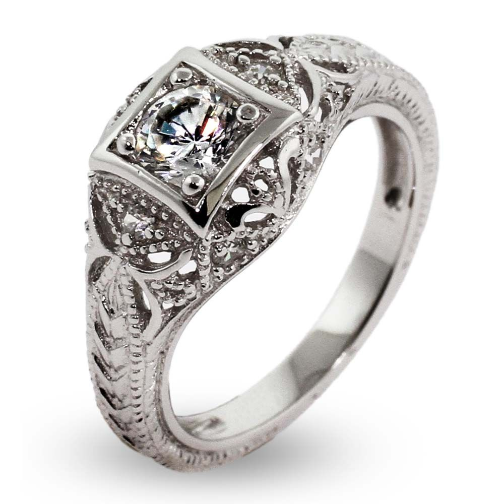 Add Some Style To Your Jewelry Collection With This Vintage Deco Sterling Silver Cz Engagement