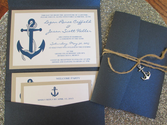 Navy Blue Anchor Nautical Wedding Invitation Etsy Navy Wedding Invitations Nautical Wedding Theme Anchor Wedding Invitations