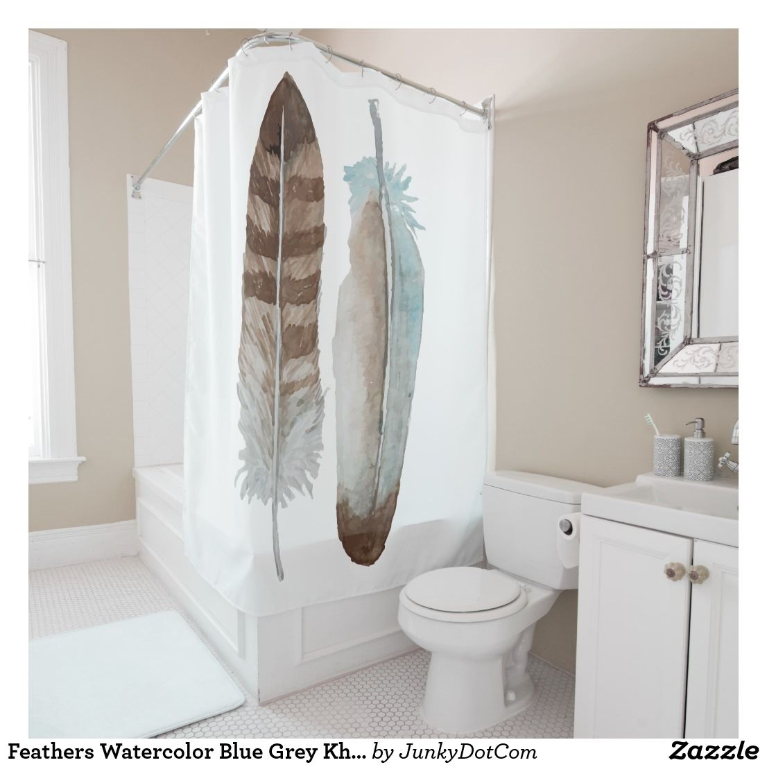 Feathers Watercolor Blue Grey Khaki Pastel Shower Curtain Zazzle