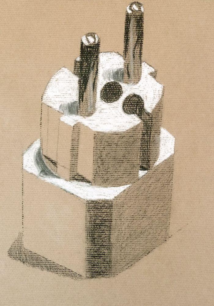 Patrícia Palmeiro. Carvão e pastel branco s/ papel kraft, 42 x 29,7 cm