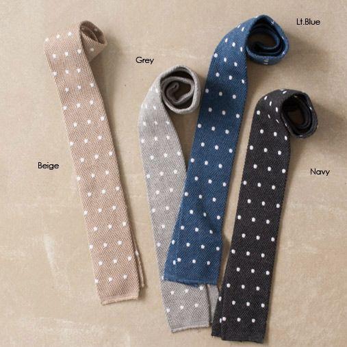 Cotton Knit Tie - Polka Dot 10,800 YEN   Knit Ties   Pinterest