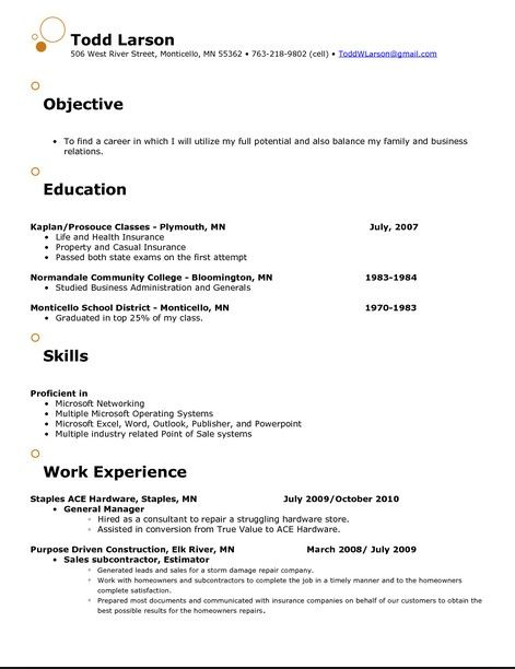 Catchy Resume Objective Examples resume template Pinterest - insurance resume objective