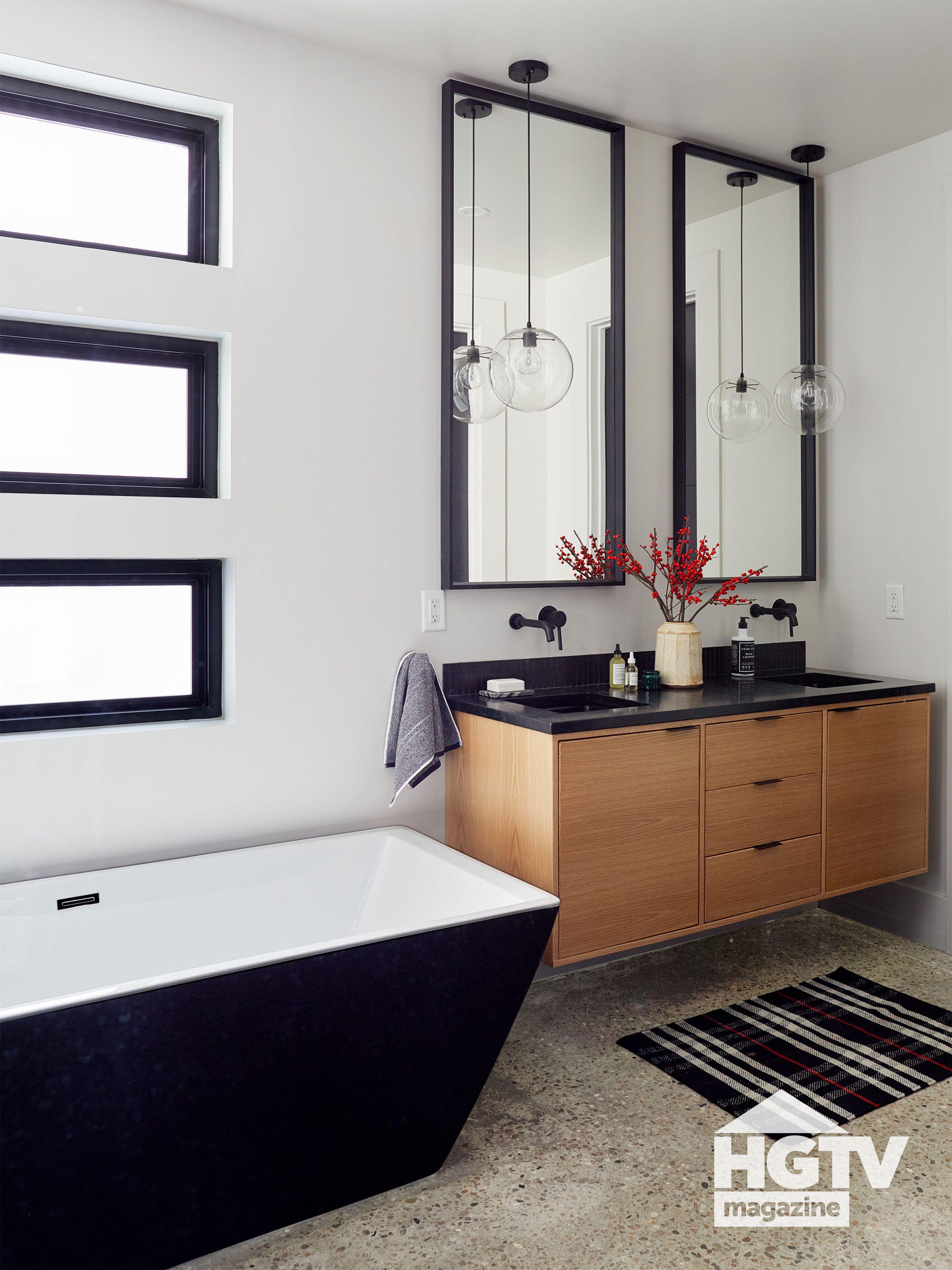 A Modern Black And White Bathroom Featured In Hgtv Magazine Modern Master Bathroom Remodel Bathroom Trends 2021 Bathroom Trends