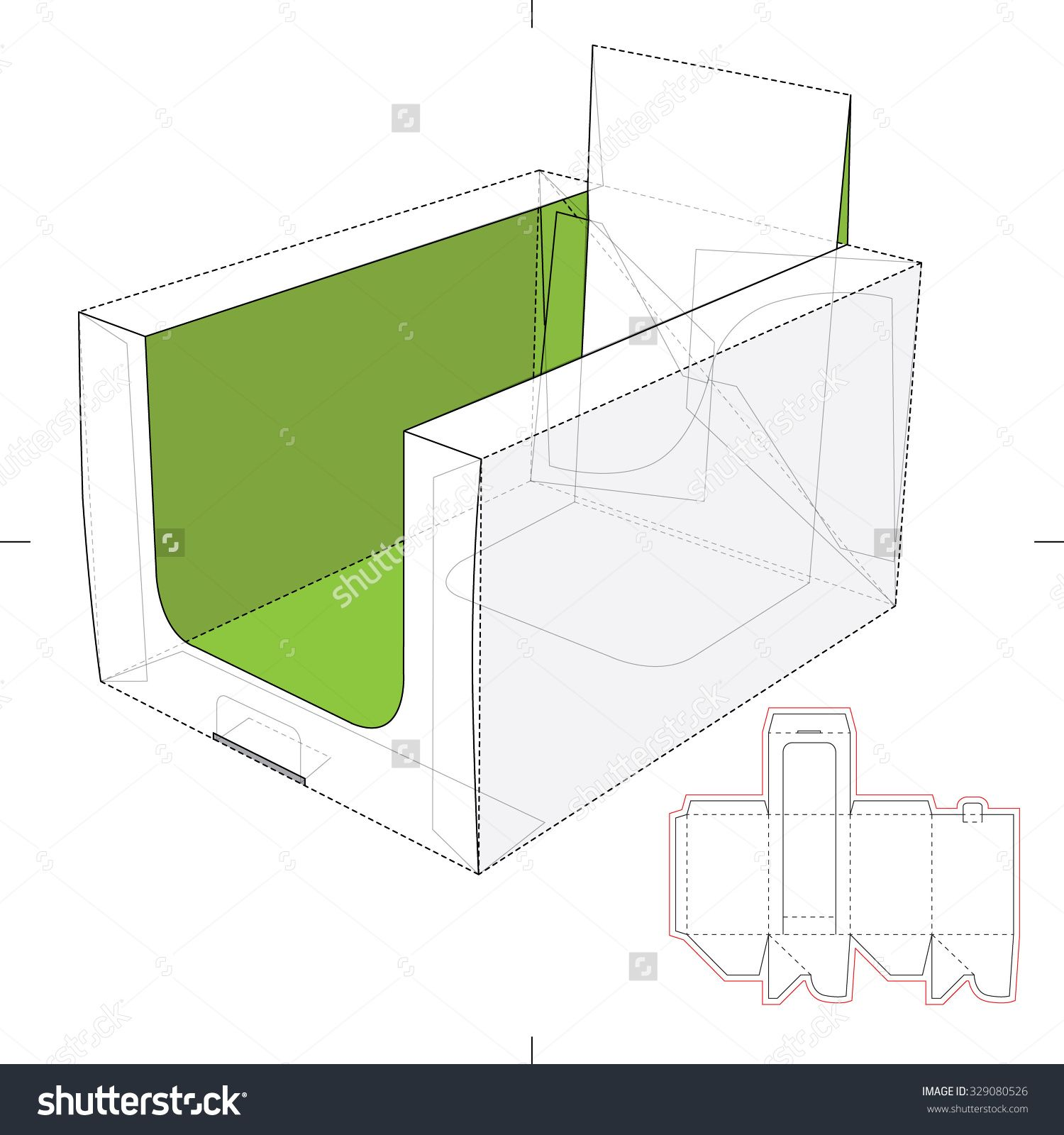 Product Display Box With Blueprint Layout Stock Vector