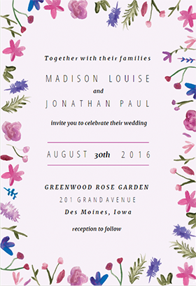 WatercolorFlowers printable invitation template Customize add