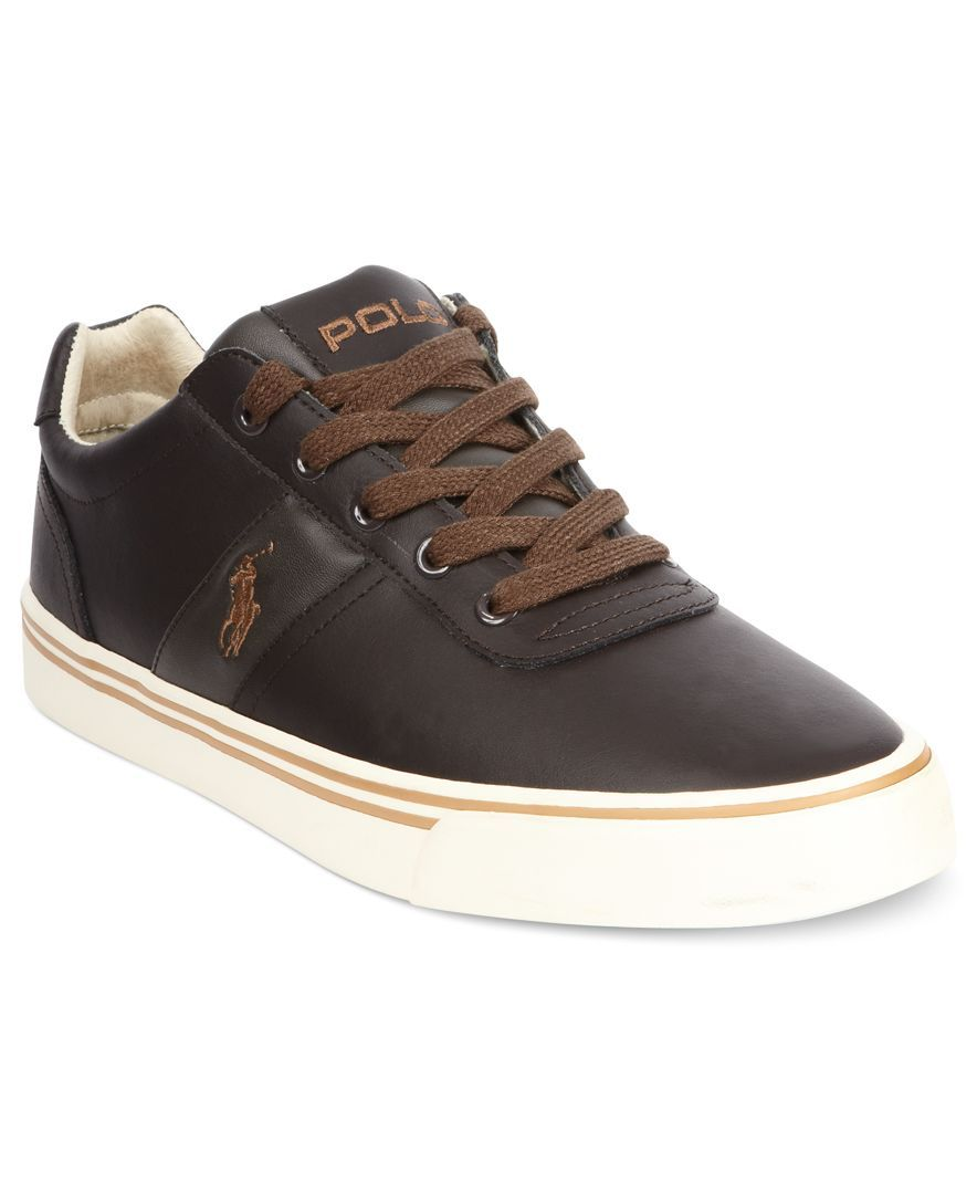 polo ralph shoes hanford leather sneakers mens