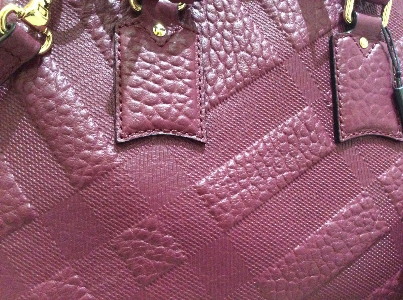 a5515541f6a  1695 Burberry Authen Small Orchard Embossed Check Leather Bowling Plum  Satchel  619.99