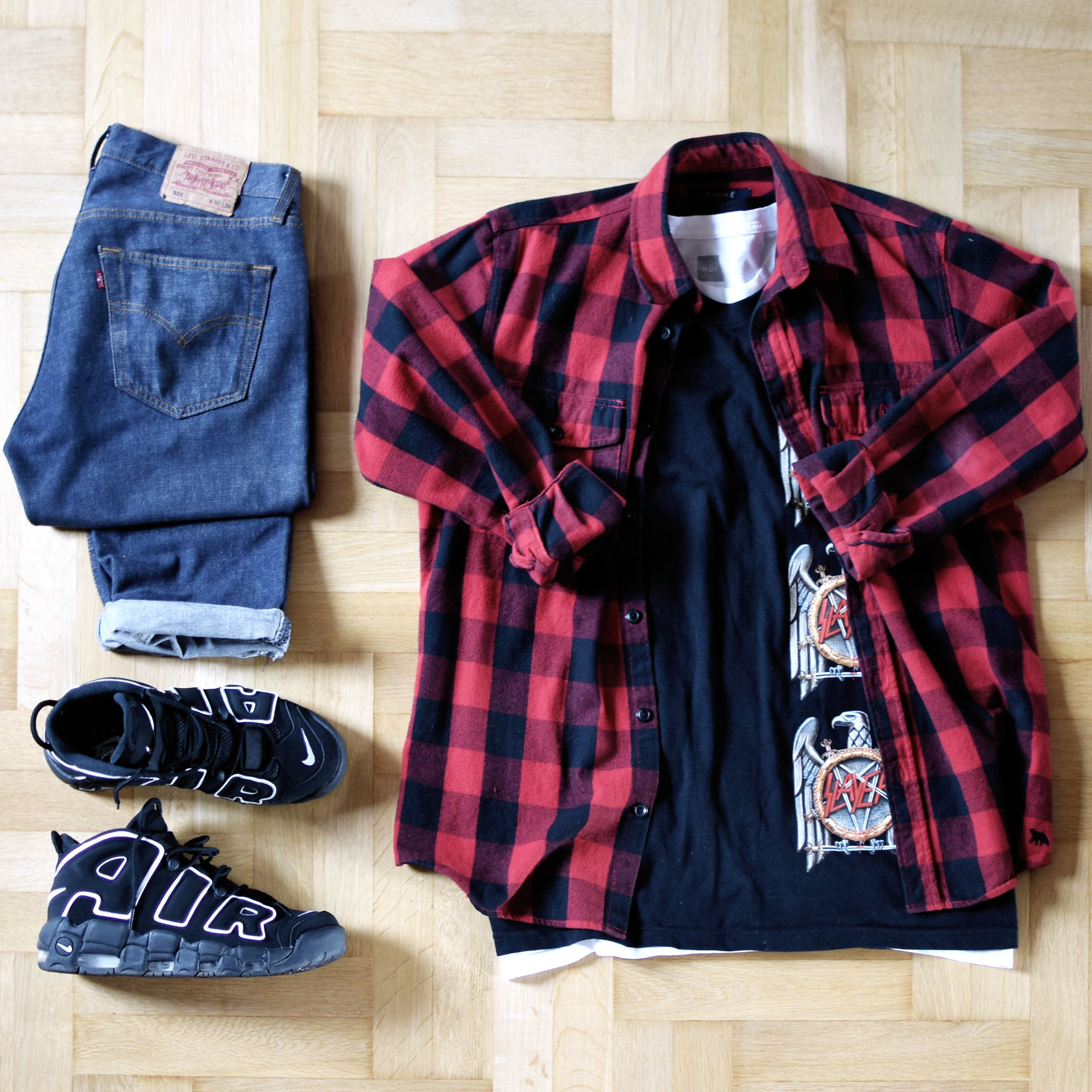 Outfitgrid - Levis Jeans / Kappahl Shirt / Supreme X Slayer Tee / Nike Air More Uptempo Shoes ...
