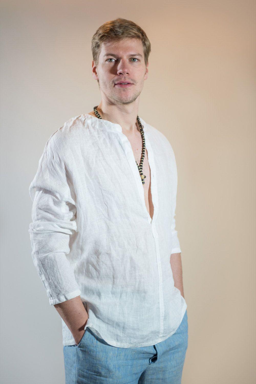Mens Shirt White Linen Long Sleeve Loose Clothing Boho Beach Wedding Plus Size Holiday Xl Men Gift Tunic By Linenbee