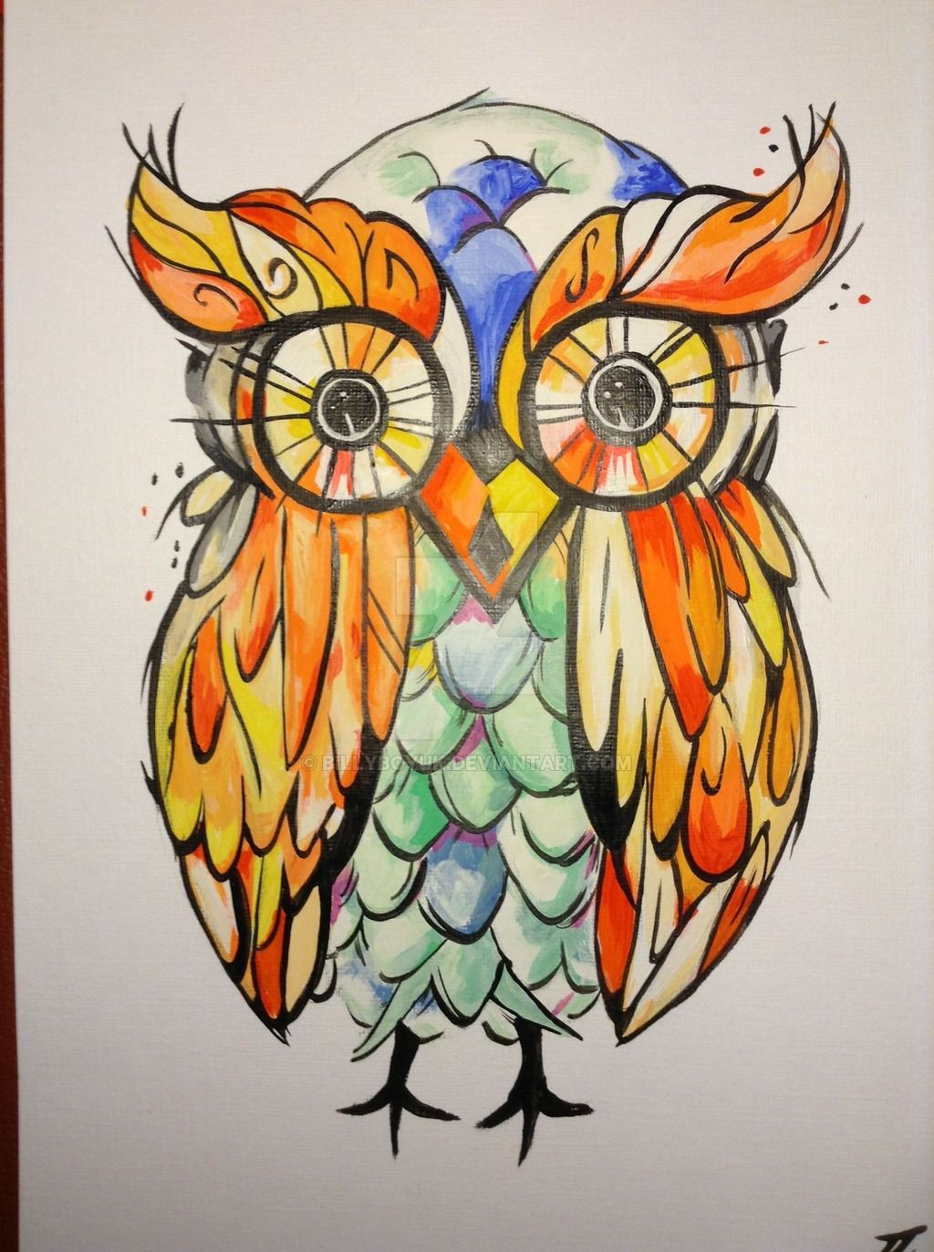 Acrylic Owl Painting Tattoo Style Art By Billyboyuk On Deviantart