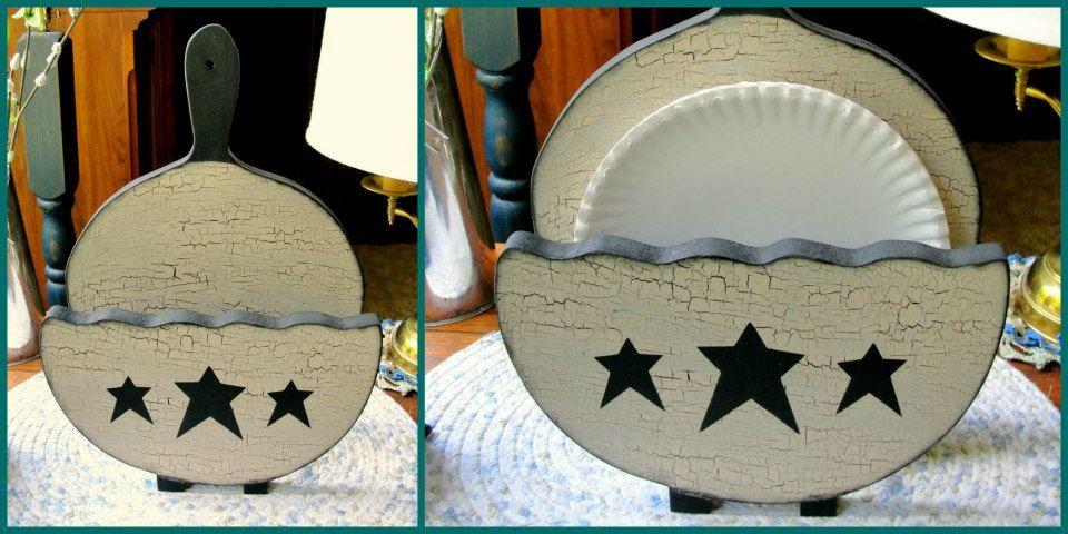 12 - Primitive Paper Plate holder. Painted in Black with Lt. Tan ...