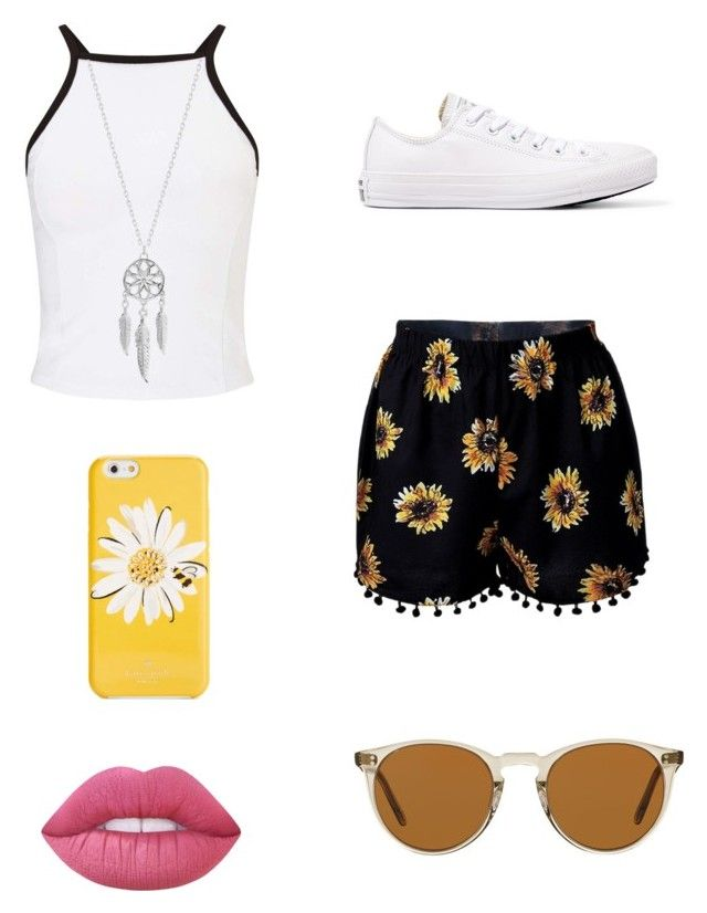"""Flower summer outfit!"" by liafrancescaholmes on Polyvore featuring Miss Selfridge, Lucky Brand, Converse, Kate Spade, Oliver Peoples and Lime Crime"