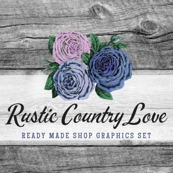 rustic rose shop branding banners avatar icons business card logo label more 13 premade graphics files rustic country love