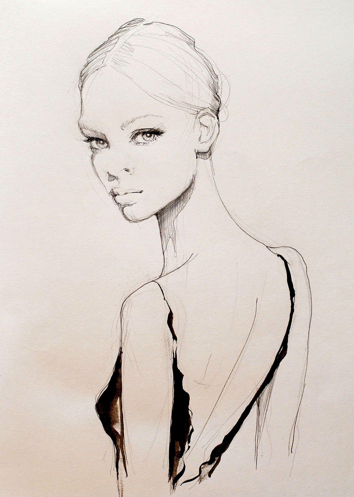 Beautiful fashion illustration - dress back, fashion drawing ...