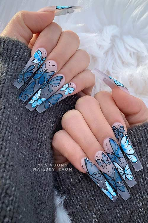 23 Ways To Wear Trendy Butterfly Nails This Spring Page 2 Of 2 Stayglam In 2020 Butterfly Nail Butterfly Nail Designs Blue Glitter Nails