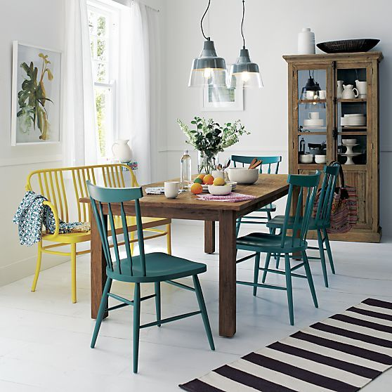 """painted chairs :) // 87"""" Dining Table I Crate and Barrel"""