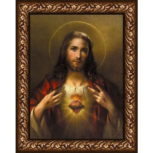 sacred heart of jesus simeone replica on canvas enhanced with brush strokes and featured in an ornate design frame with gold over dark wood