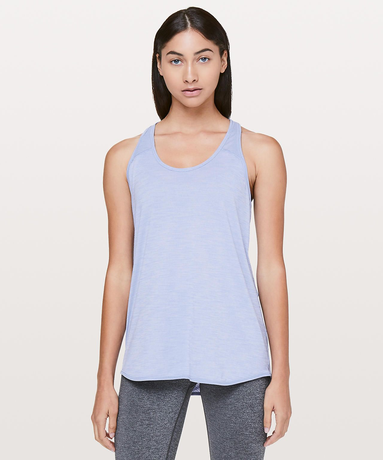 c537b7ce0d42b9 Heathered Iron Purple Yoga Tank