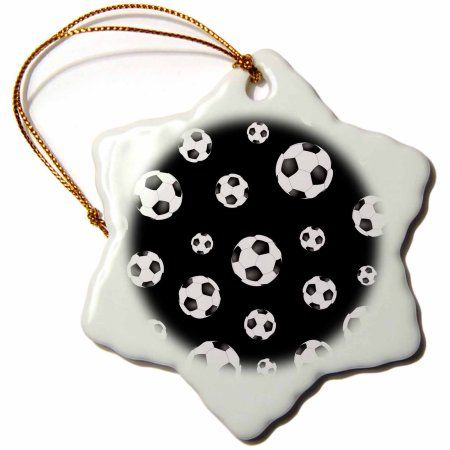 3dRose Soccer ball pattern. Black and white British football. sport sports sporty sporting game team player, Snowflake Ornament, Porcelain, 3-inch