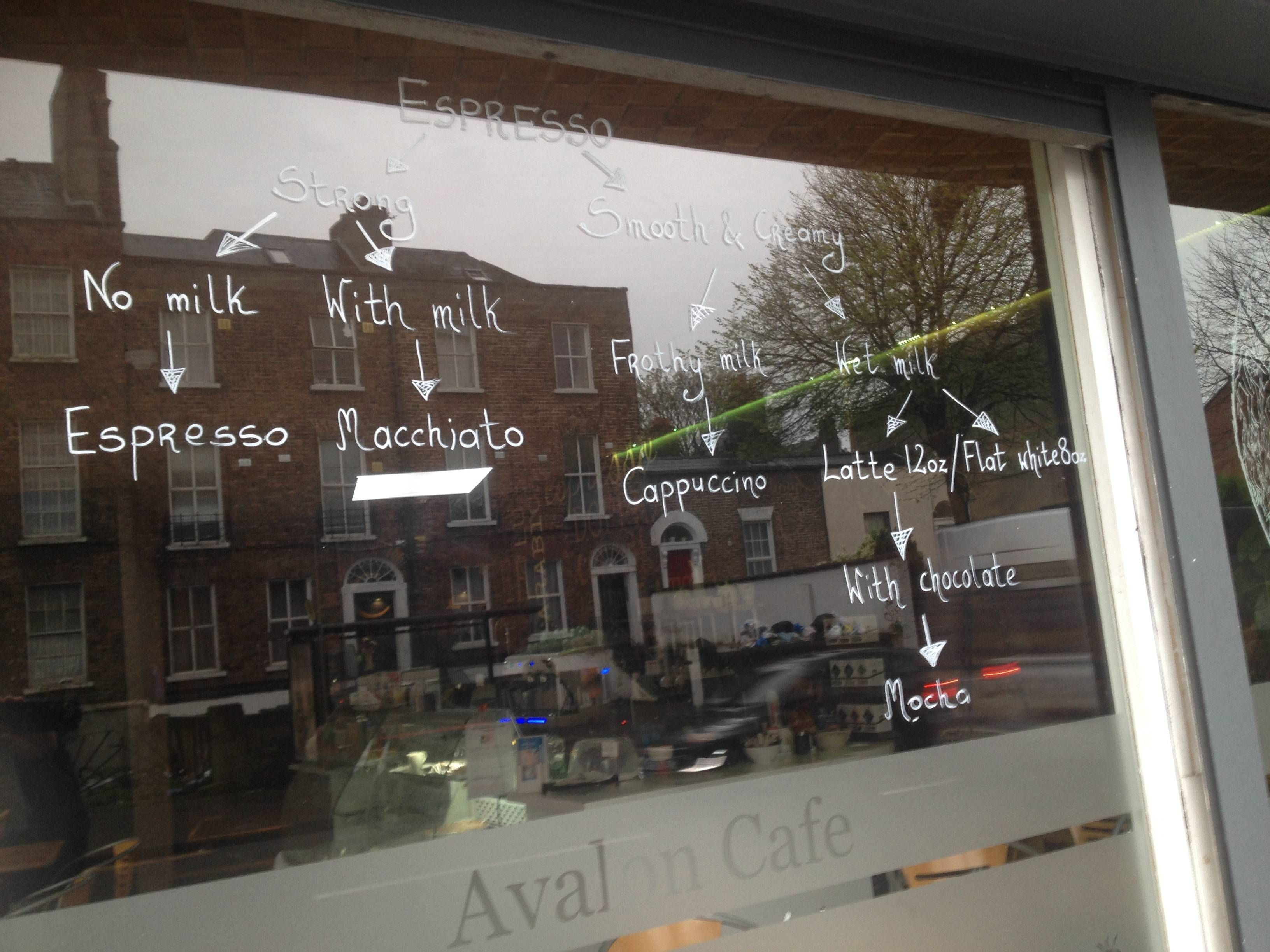 This coffee shop has a handy guide to coffee drawn on their window