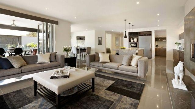 Wohnraum lösungen individuell sofa set grau fliesen hochglanz boden