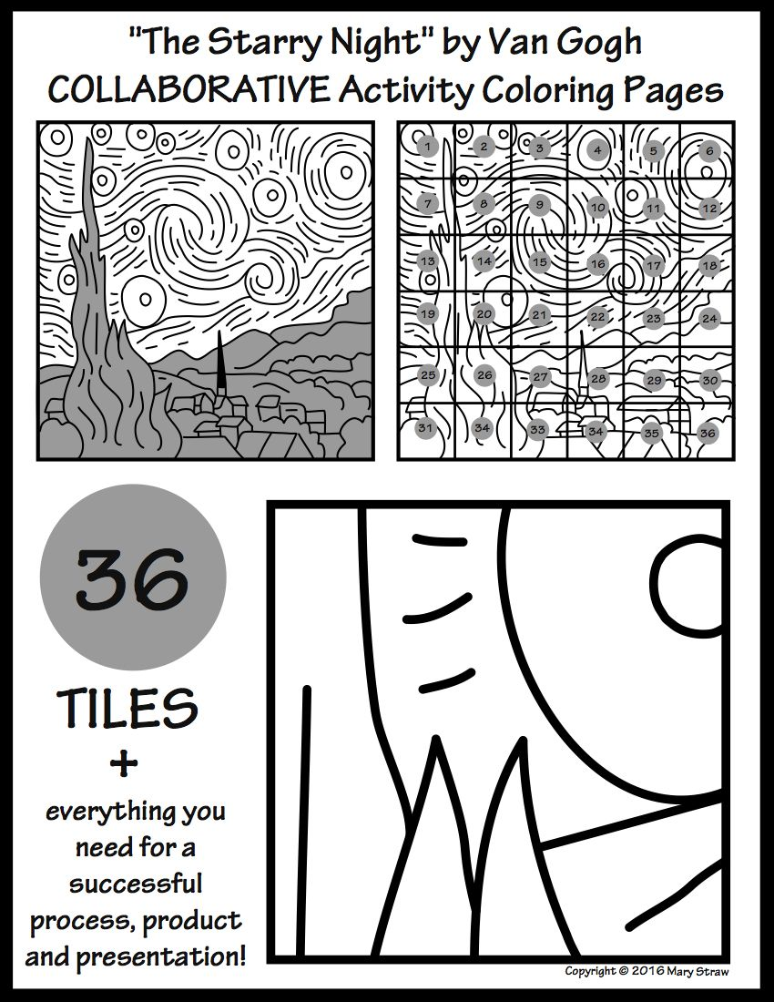 The Starry Night By Van Gogh Collaborative Activity Coloring