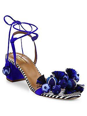 1b40fa413 Aquazzura Tropicana Multitoned Sandals Fringe Sandals