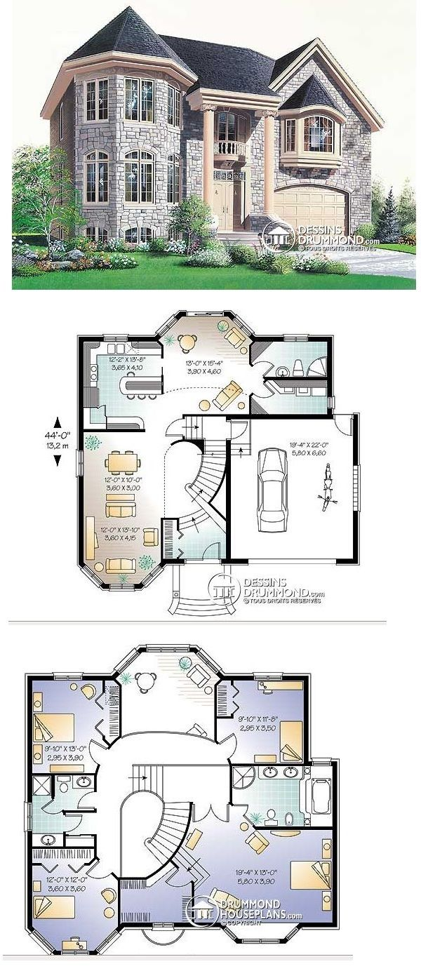 Remove Attached Garage Switch Turret To Master Suite Make Master Suite Smaller To Match Decreased Footprint Sims House Plans House Blueprints House Plans