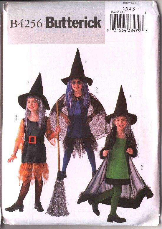 halloween+sewing+patterns | Butterick Childs Halloween Witch Costume ...