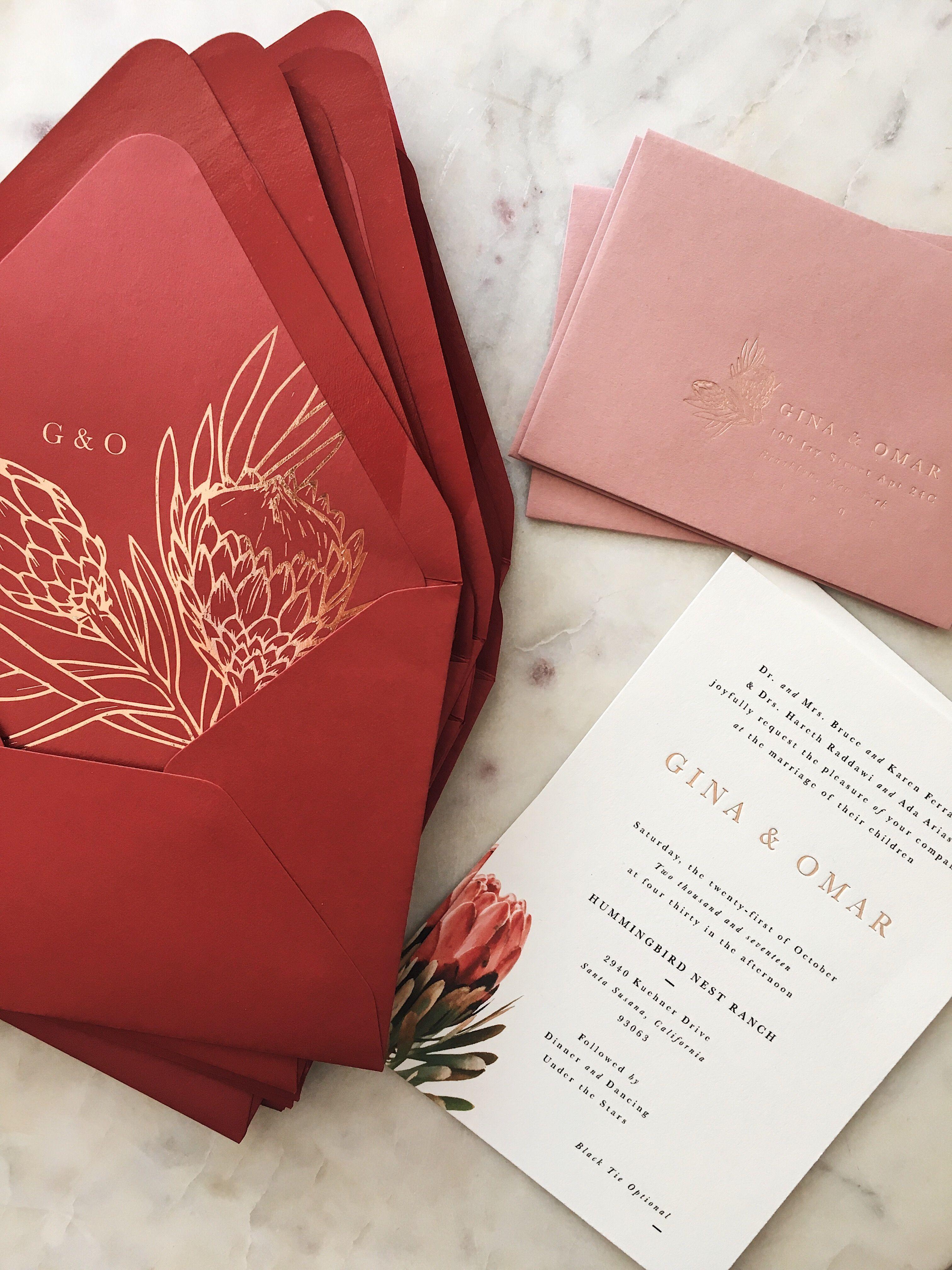 Protea And A Pretty Color Combination Interesting Wedding Invitations Simple Modern Classic Wedding Invitations Elegant Fun Wedding Invitations