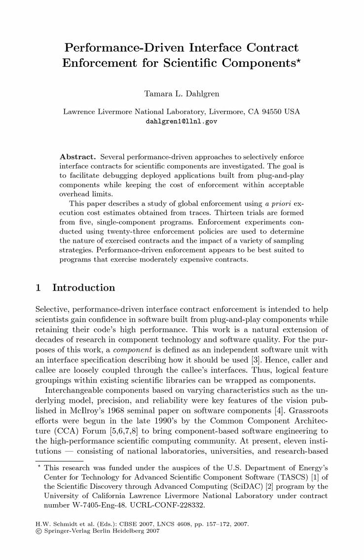 PerformanceDriven Interface Contract Enforcement For Scientific