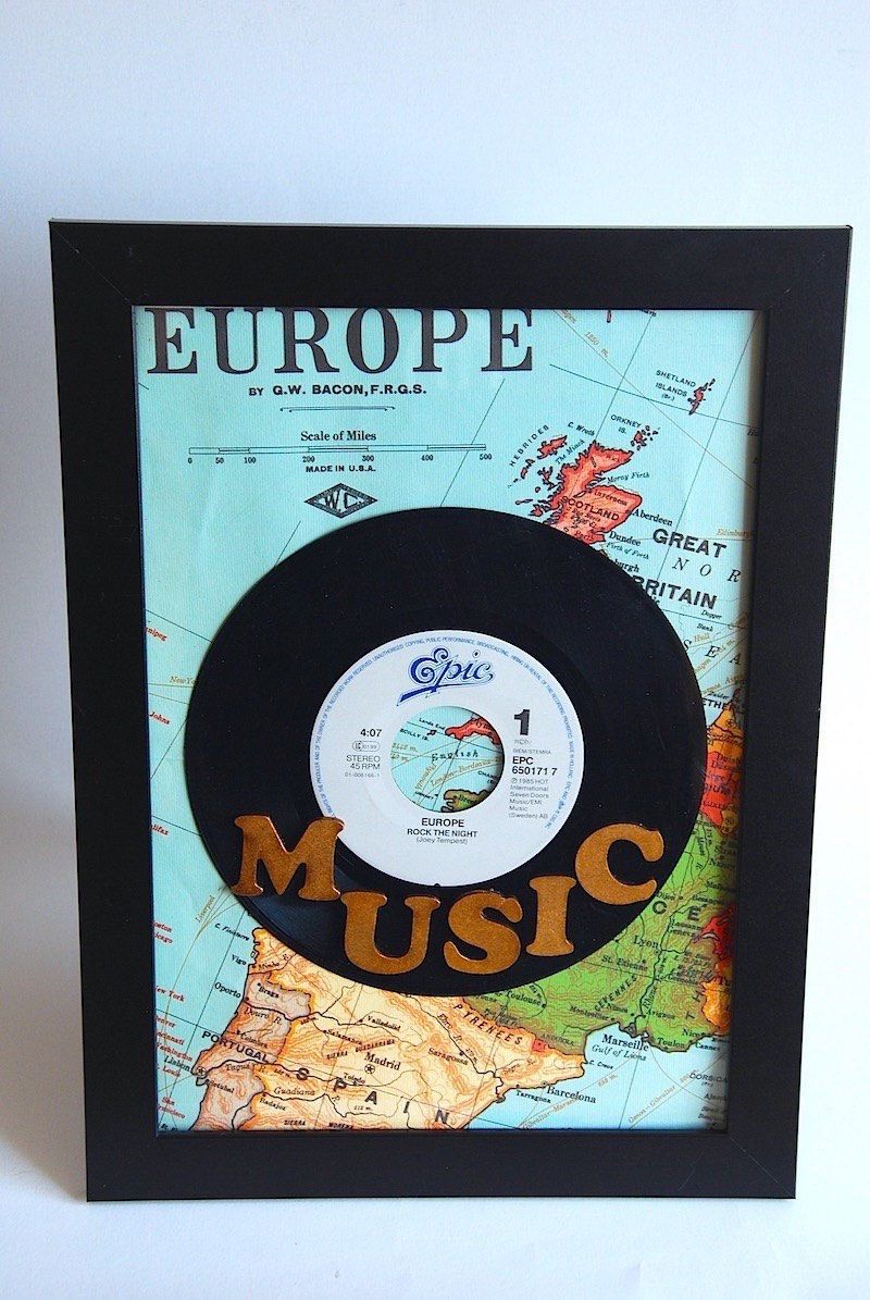 Vinyl Record Art Vinyl Record Frame Europe Map Art Wall Art Music Wood Letter 7 Inch Vinyl Records Vi Vinyl Record Art Framed Records Vinyl Record Crafts