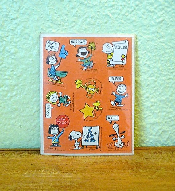 Vintage Peanuts Stickers by basicallyBaca on Etsy