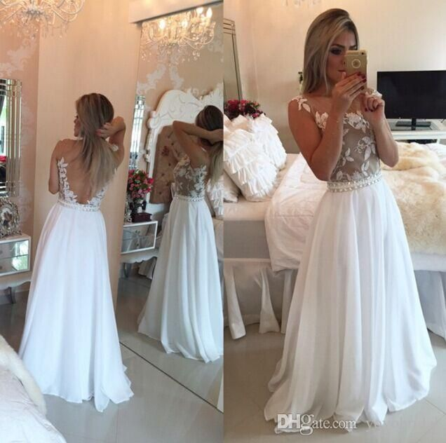 Chiffon Prom Dresses Backless Evening Dress Evening Wearcheap Red Carpet Pageant Formal Gowns Party Gown Sash Beaded Appliques Floor Length Prom Prom Dresses 2015 From Yoyobridal, $91.26| Dhgate.Com