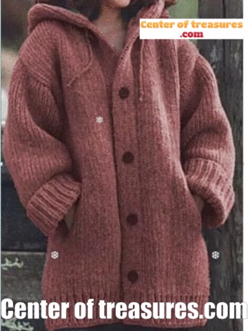 Photo of Button Down Hooded Knitted Cardigan Plus Size Outerwear