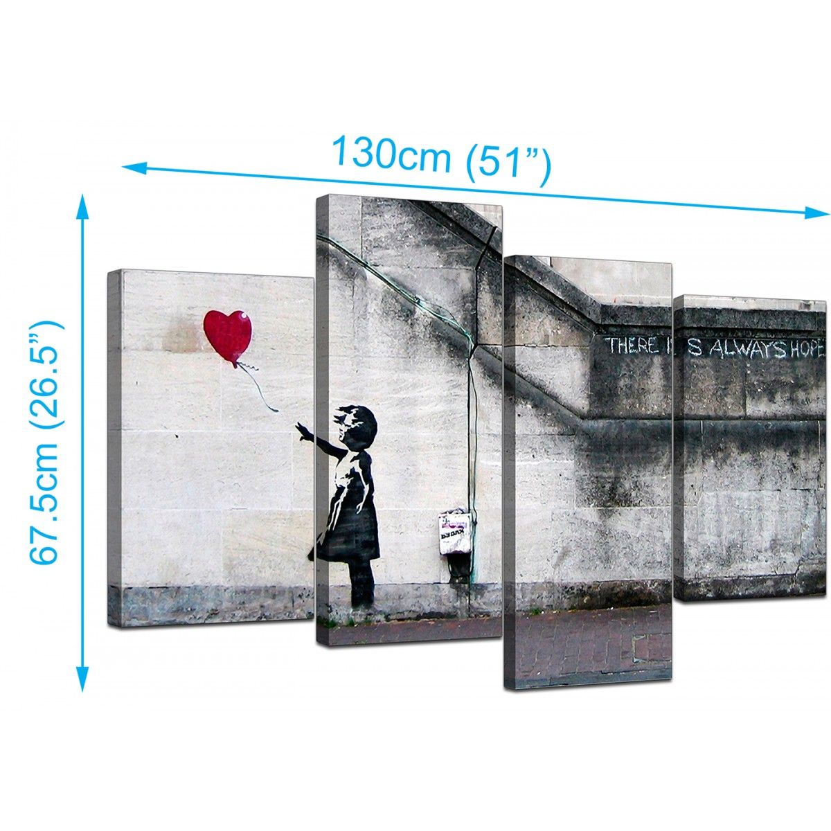Banksy Girl with the red balloon Canvas Graffiti Wall Art Poster Print Hope