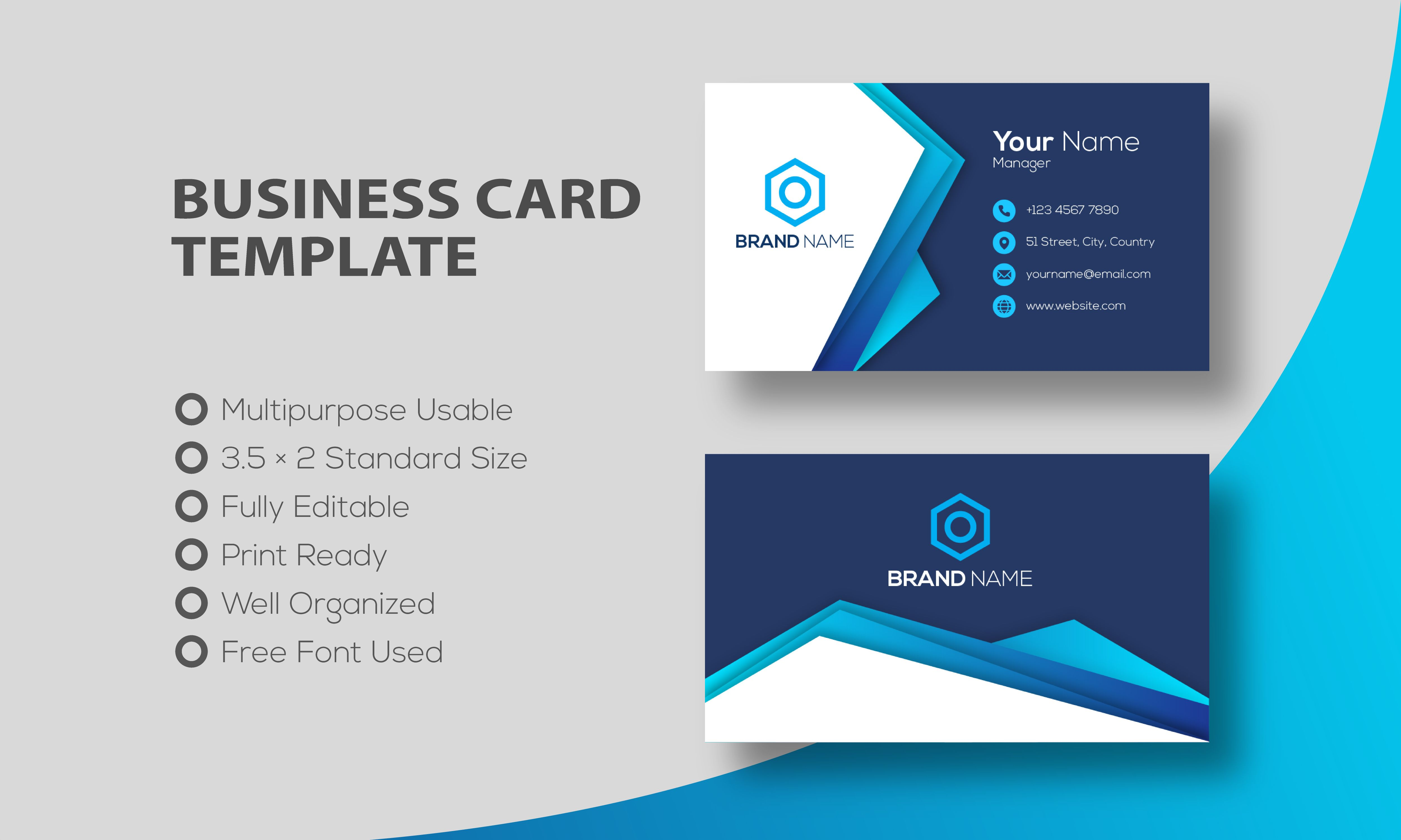 Modern Business Card Template Free Free Business Card Templates Modern Business Cards Modern Business Cards Design