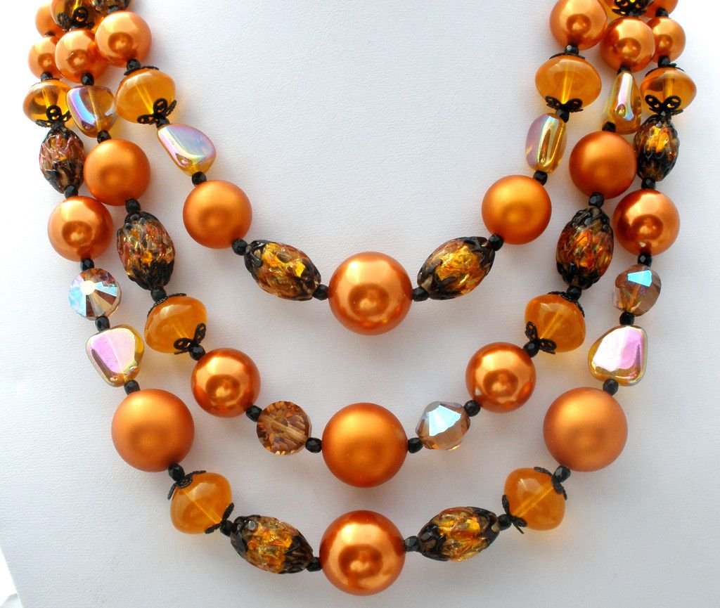 Vendome-Triple-strand-Bead-Necklace-Brown-Art-Glass-Crystals-the-jewelry-lady's-store