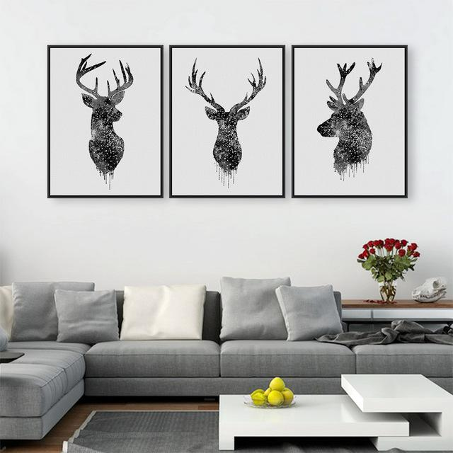 Triptych Watercolor Deer Head A4 Poster Print Abstract Animal Pictures Canvas Painting No Frames Living Room Home Decor Wall Art is part of Living Room Art Abstract - Brand Name Mild ArtType Canvas PrintingsSubjects AnimalFrame mode UnframedMaterial CanvasStyle ModernFrame NoMedium WatercolorSupport Base CanvasForm SingleTechnics Spray PaintingModel Number Q0000566Shape RectangleOriginal Yes