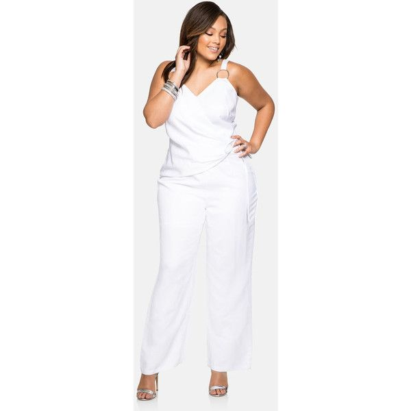 c9581daab8c Ashley Stewart Metal Ring Linen Jumpsuit White ( 60) ❤ liked on Polyvore  featuring jumpsuits