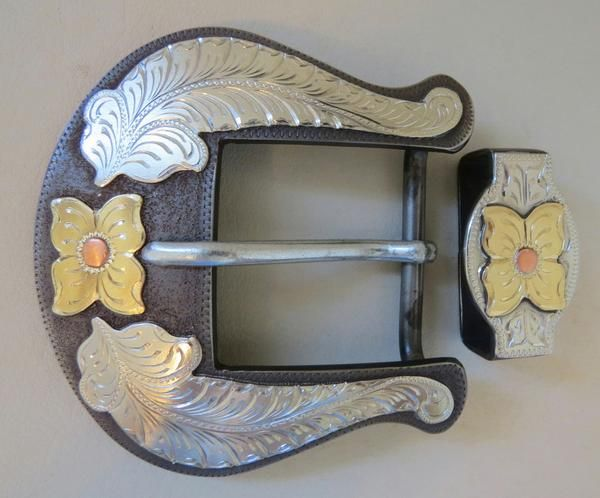 "New Handmade DON ROGERS Two Piece 1 ½"" Belt Buckle Set Flowers and Feathers"