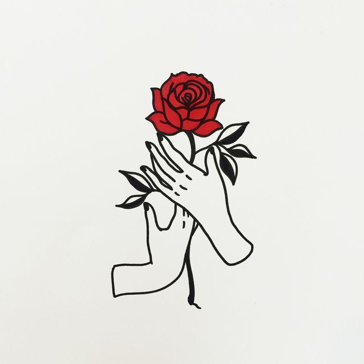 Hands Holding A Rose Doodle Outline Vorlagen In 2019 Pinterest
