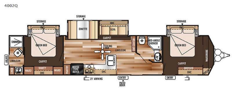 Wildwood dlx miscellaneous forest river rv forest river rv floor plans for Two bedroom travel trailers for sale